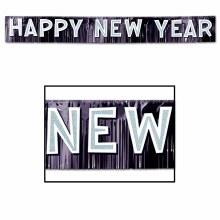 Happy New Year Banner Black Fringe