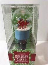 Wine Bottle Snowglobe Topper ~ BLUE JOY