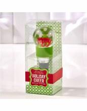 Wine Bottle Snowglobe Topper ~ GREEN MERRY