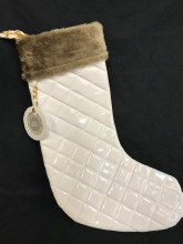 Quilted Faux Leather Stocking ~ White