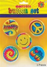 Button Set 60's Hippie