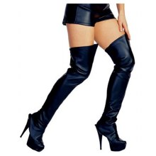 Boot Tops High FauxLeather Blk