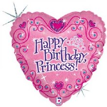 Pink Holographic Happy Birthday Princess Heart ~ 18""