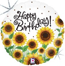 "Happy Birthday Holographic Sunflowers ~ 18"""