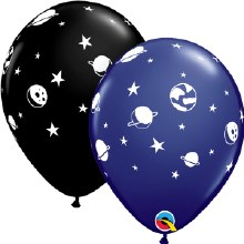 "Latex Balloon ~ Black/Dark Blue Celestial Fun ~ Matte Finish 11"" ~ (One Balloon ~ Pick Colors)"