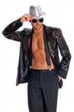Jacket Sequin Mens Blk L