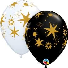 "11"" Matte White & Black w/ Gold Star~Bursts"