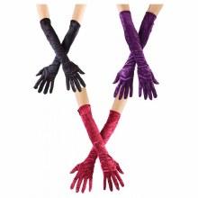 Gloves Velvet Long Red