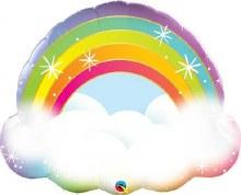"JUMBO Rainbow In The Clouds Mylar ~ 32"""