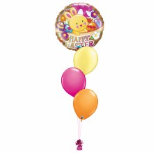 Happy Easter Bunny In A Basket Balloon Bouquet ~ Small