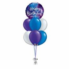 Purple & Blue Galaxy Happy Birthday Balloon Bouquet ~ Standard