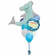Happy Shark Happy Birthday Balloon Bouquet ~ Large