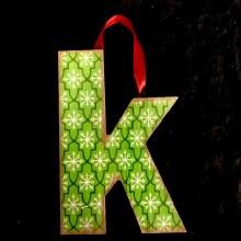 Merry Initials Ornament ~ K