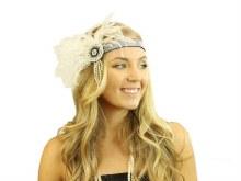 Flapper Headband Gems White