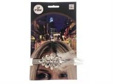 Flapper Headband Gems Silver
