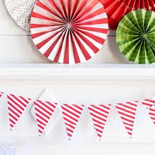 Candy Cane Striped Pennant Banner ~ 9'
