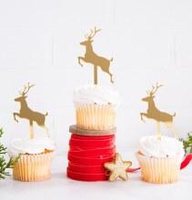 Cupcake Topper Deer Gold