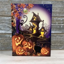 Canvas Haunted House Light Up