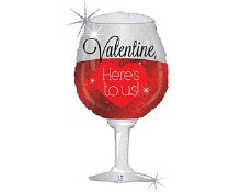 """Valentine Holographic Wine Glass Here's To Us ~ 34"""""""