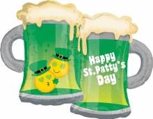 "Jumbo Happy St. Patrick's Day Green Beers ~ 32"""
