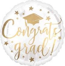 Mylar Foil Congrats Grad Balloon White/Gold 17in