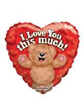 """Cute Bear I Love You This Much Heart ~ 18"""""""