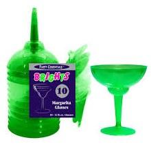 Margarita Glasses Green 10ct