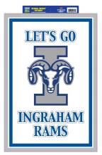 """Ingraham Rams Sign 20"""" x 14"""""""