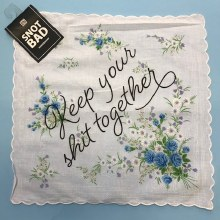 Keep Your Shit Together Handkerchief ~ Blue & White Flowers