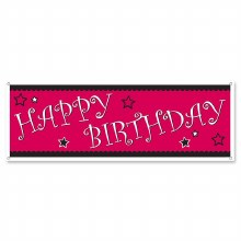 Happy Birthday Banner Hot Pink