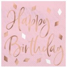 Blush Birthday Lunch Napkins 16ct