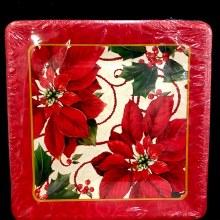 "Classic Poinsettia Plates ~ 8 Pack/10"""