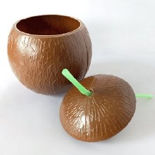 Coconut Cup Plastic w/Straw