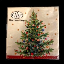 Cream Christmas Tree Beverage Napkins ~ 20 Pack