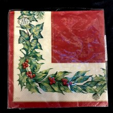 Cream Christmas Garland Lunch Napkins ~ 20 Pack