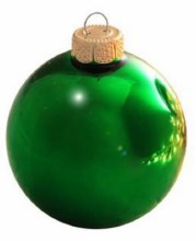 """Green Glass Ornaments ~ 8 Pack/2.6"""""""
