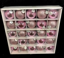 """Assorted Light Pink Glass Ornaments ~ 25 Pack/1/75"""""""