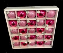 """Assorted Pink Glass Ornaments ~ 25 Pack/1/75"""""""