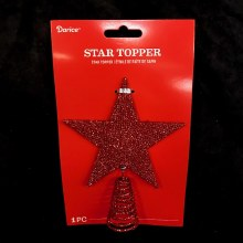 Sparkly Red Star Tree Topper