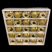 """Assorted Gold/Sparkly Gold Glass Ornaments ~ 25 Pack/1.75"""""""