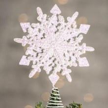 Iridescent Sparkly White Snowflake Tree Topper