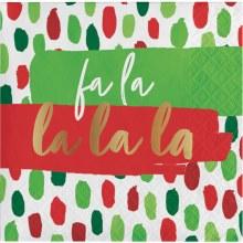 Fa La La Foil Beverage Napkins ~ 16 Pack