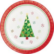 "Fractal Foil Christmas Tree ~ 8 Pack/7"" Plates"