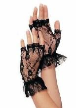 Gloves Fingerless Lace Blk
