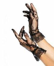 Glove Wrist Black Lace Ruffle