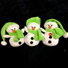 Singing Sparkle Snowman Plush ~ GREEN
