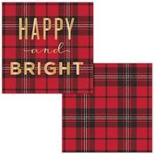 Happy & Bright Foil Beverage Napkins ~ 24 Pack