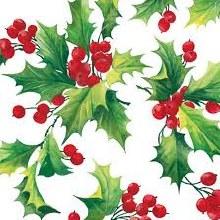 Holly Berries Beverage Napkins ~ 20 Pack
