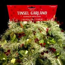18' Holly & Berries Tinsel Garland