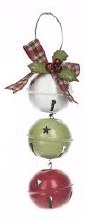 Jingle Bell Ornament ~ Red/Green/White